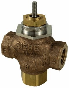 "Schneider Electric VB-7313-0-4-08 Series Vb-7000 Three-Way Globe Valve Body, Npt Threaded Straight Pipe End Connection, Mixing, Brass Plug, 1"" Port Size from Schneider Electric Buildings"