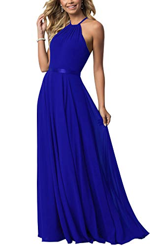 - NewFex Halter Bridesmaid Dress 2019 Long Chiffon Women Formal Backless Simple Prom Party Gown Royal Blue 2