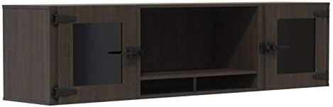 """Mirella 72"""" Wall Mounted Hutch with Glass Doors in Southern Tobacco"""