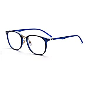Outray Vintage Small Nails Square TR Frame Clear Lens Glasses 2175c2 Blue