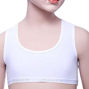 Mariposa White Sport Bra For Girls