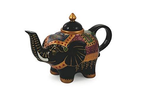 Villa d'Este Home Tivoli 2190989 Patchwork Teapot Elephant, Black, Porcelain