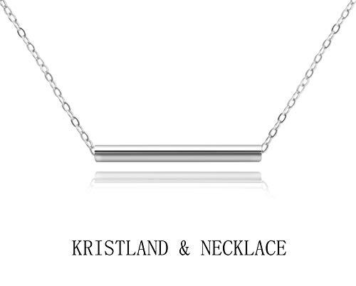 KristLand - Women 18k Rose Gold Color Plated Bar Pendant Necklace Choker Simple Design Silver ()