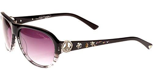 Ed Hardy Peace Sunglasses Black Grey Purple Gradient 58 15 128