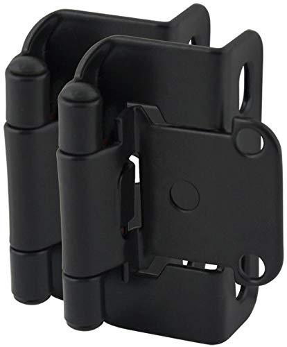 25 Pair Pack - Cosmas 27550-FB Flat Black Self Closing Partial Wrap Cabinet Hinge 1/2