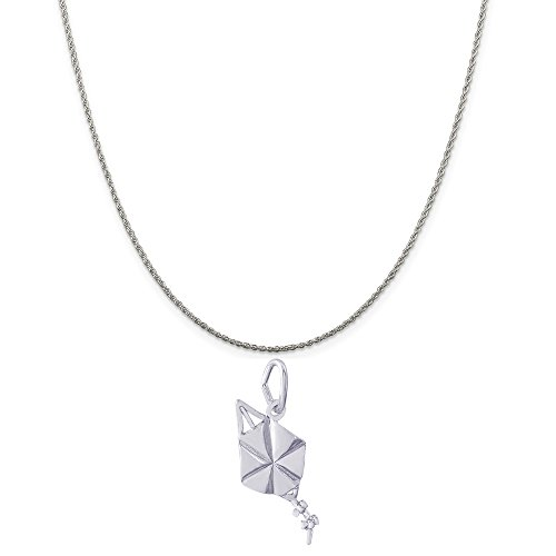 rling Silver Kite Charm on a Sterling Silver Rope Chain Necklace, 20