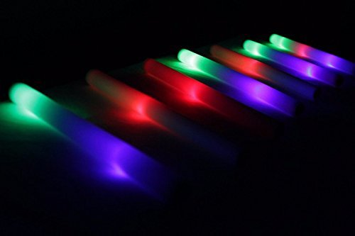 18'' Multicolor LED Foam Stick Baton for Weddings, Parties and Dancing, 200 Pack LED Glow Sticks with 3 Mode Lighting by Promotional Party Sticks (Image #3)