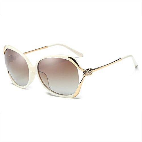 la Conducción UVB400 Femenina de Cara polarizada Resina de de Las Sol de UVA de HLMMM Caja de luz Moolo Leopardo del Huecas Gafas de Diamante Redonda Sol Las Blanco Drive Gafas Color Xw7B4qW