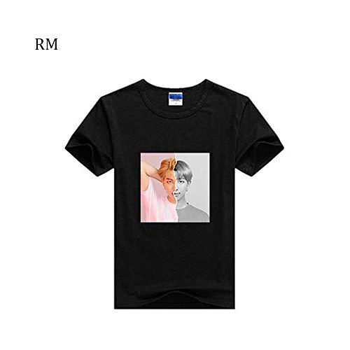 Kpop BTS Bangtan Boys Concert Love Yourself Answer Tshirt Jimin V Short Sleeve Tops T-Shirt Tee Shirt (M, RM Black)