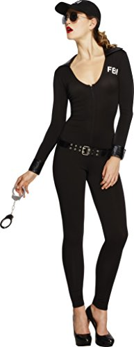 Womens Fbi Costume (Smiffy's Women's Fever FBI Flirt Costume, Bodysuit, Belt and Cap, Cops, Fever, Size 6-8, 31448)