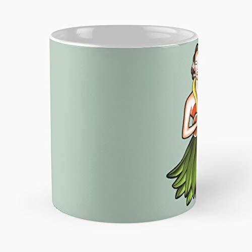 Vintage Hula Girl Tattoo - Morning Coffee Mug Ceramic Novelty Holiday 11 Oz