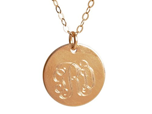 EFYTAL Monogram Necklace, 14k Gold Filled Engraved three Initials on Disc Pendant - Personalized Gift ()