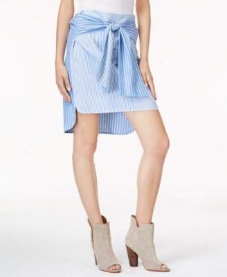 Bar III Womens Tie-Front High-Low Pencil Skirt Blue S (Newport Spandex Skirt)