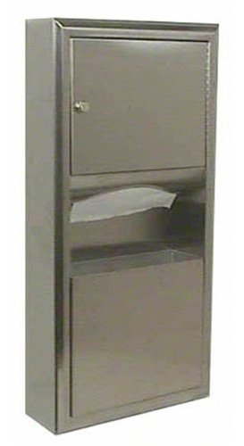 Bobrick 3699 ClassicSeries Stainless Steel Surface-Mounted Paper Towel Dispenser/Waste Receptacle, Satin Finish, 2 Gallon Capacity, 14-1/4'' Width x 28'' Height by Bobrick
