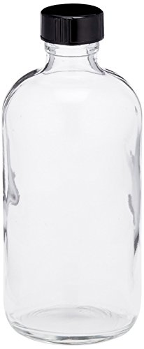 JG Finneran D0149-8 Clear Borosilicate Glass Standard Boston Round Bottle with Black Phenolic Closure, PE Cone Lined, 24-400mm Cap Size, 8oz Capacity (Pack of 12)