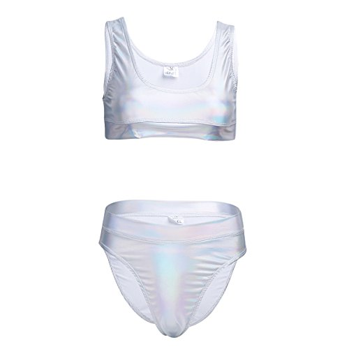 FEESHOW Women 2 Piece Shiny Metallic Bikini Crop Top with High Waist Thong Set Swimsuit Silver M