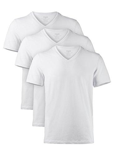 Genuwin 3 Pack Men's Micro Modal V-Neck Undershirts Lounge T-Shirt Slim Fit Tees Big and Tall Undershirt (White, - Pack Undershirts 3 V-neck