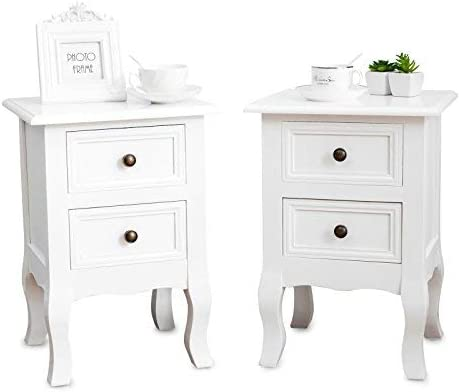 Mecor Set of 2 Nightstand Small Super Cute – Paulownia Wood – Fully Assembled – End Tables Bedside Tables – with 2 Drawers Storage,White