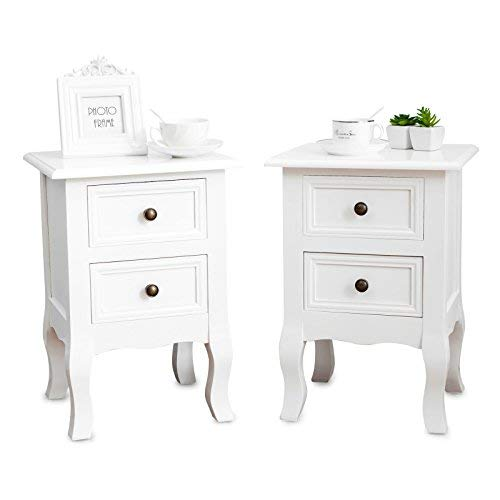 Round Table Cabinet End (Mecor Set of 2 Nightstand Small&Super Cute - Paulownia Wood - Fully Assembled - End Tables Bedside Tables - with 2 Drawers Storage,White)