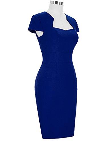 GRACE KARIN Vestido de Swing Retro Manga del Casquillo Estampada Vestido de la Fiesta para Mujer Azul Oscuro(cl8947-3)