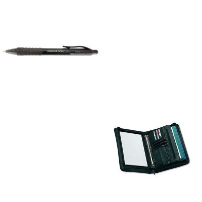 KITUNV25650UNV39912 - Value Kit - Universal Zip-Around Padfolio (UNV25650) and Universal Clear Barrel Roller Ball Retractable Gel Pen (UNV39912)