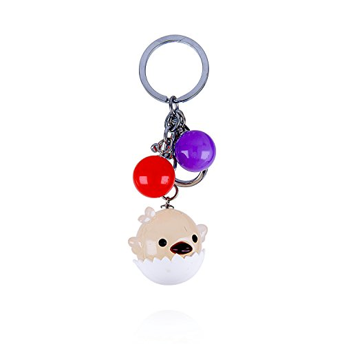 I's Silver Tone Egg Little Chicken Macaron Candy Summer Ball Purse Decoration Keychain (Chicken Egg Bag)