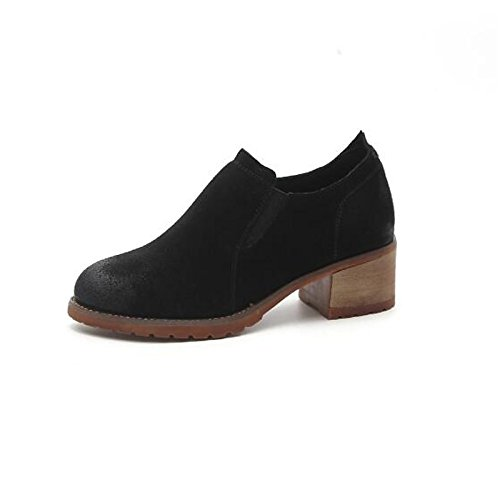 Boots leather HSXZ for Winter Fall Flat Heel ZHZNVX Boots Casual Round Toe Black Black Women's Ankle Booties Camel Nubuck Boots Shoes Fashion CadnWwIq