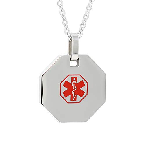 (My Identity Doctor USA | Medical Alert Mens Womens Necklace with Pendant | Free Custom Engraving for Diabetes Warfarin Dialysis Stroke Pacemakers 27in (68.5cm) Chain - Red)