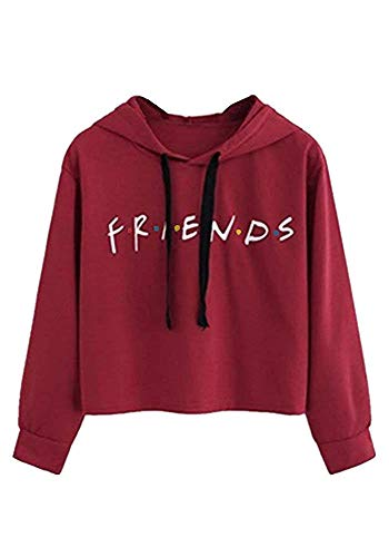 Logo Hoodie Top - LHAYY Women's Casual Loose Top Cotton Friends Letters Print Pullover Sweatshirt (Red, Small)