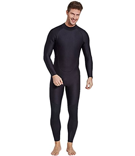 SailBee Men Full Body One Piece Long Sleeve 2MM Neoprene Diving Wetsuit Top Warm Protection (Black, (Mens One Piece Wetsuit)