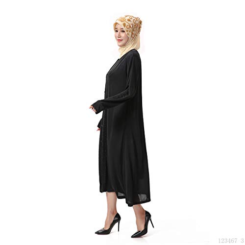 lunghe maniche Maxi Abaya BaronHong Cardigan con abito s Nero Robe strass Islamico Women's nvqUfq4wC