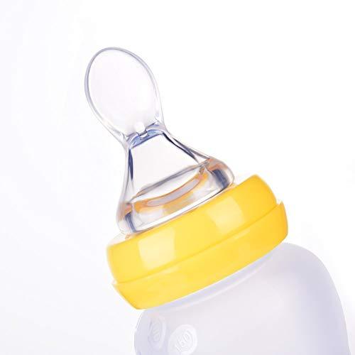 Babyflasche,Silikon Squeeze Feeder Reis Getreide Flasche Feeder Löffelspender Für Baby Kleinkind (180ml, Gelb)