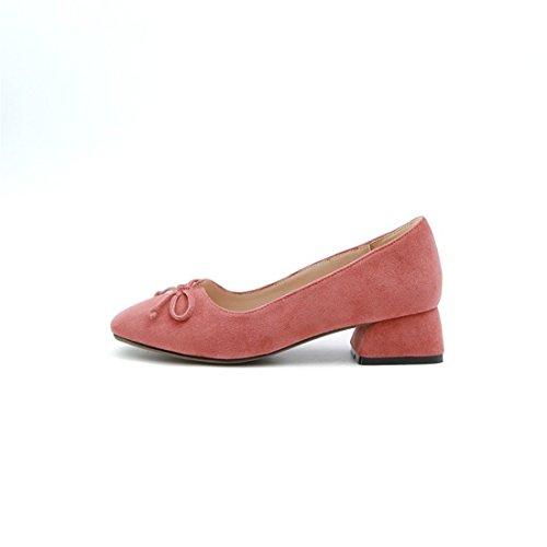 Gran Zapatos la Pajarita Tacón Cabeza y Número seguida Otoño Diamantes de Satén un en Bruto Primavera de red Zapatos Rose de por Cuadrada el Durante Puerto de luz fqHnfr
