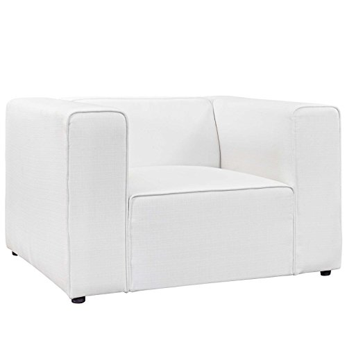 Modway EEI-2718-WHI Mingle Upholstered Fabric Generously Padded Accent Arm Lounge Chair White For Sale