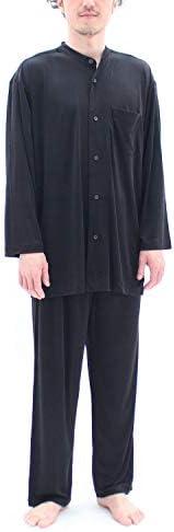 パジャマ シルクニット 前開き メンズ/ブラック・Lサイズ