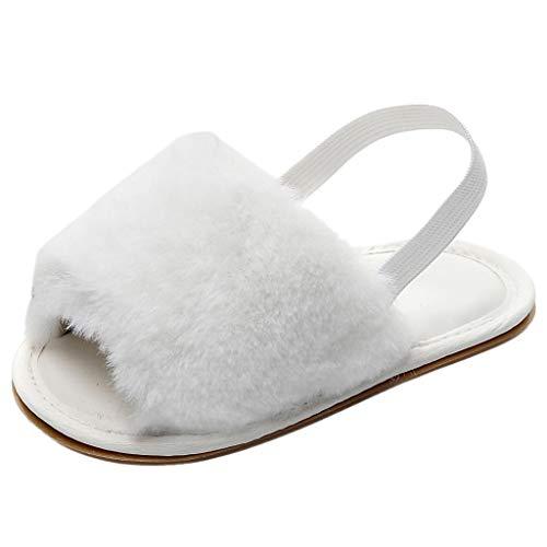 Infant Toddler Infant Baby Girls Boys Solid Fluffy Flock Soft Sandals Slipper Kids Flat Shoes Flip Flops White