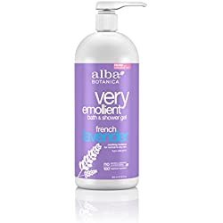 Alba Botanica Very Emollient, French Lavender Bath & Shower Gel, 32 Ounce