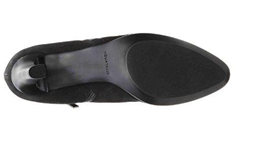 Aquatalia Dina Donna Stivale Con Tacco In Pelle Scamosciata Nera Impermeabile Taglia 12m