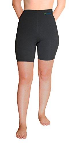 EcoStinger Women Swimming Shorts High Waist Above Knee Length UV Protection UPF50+ Black - Resistant Shorts Chlorine