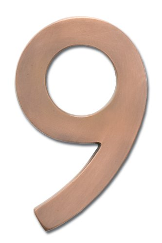 Architectural Mailboxes 3585AC-9  Brass 5-Inch Floating House Number 9, Antique Copper