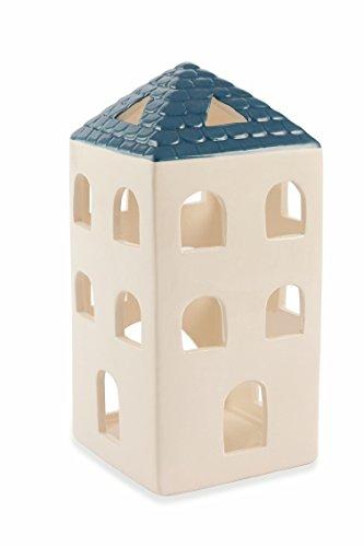 Villa d/'Este Home Tivoli Village Tealight Casetta Quadrata 9.5x9.5x20 cm Bianco Gres