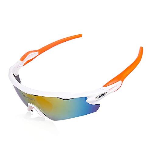 Sports Sunglasses Polarized, Men and Women Models 5 Interchangeable Lenses UV400 Protection Fishing/Driving/Running/Golf/Bicycle Half-Frame Glasses,Orange