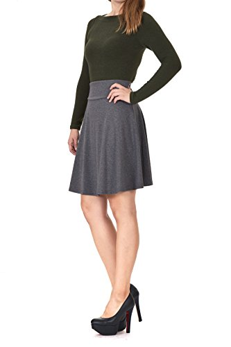 High Waist Mini (Multi-style High Waist A-line Flared Skater Mini Skirt (S, Charcoal))