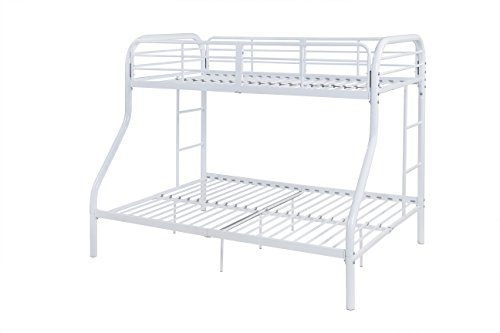 (Acme Furniture 02043WH Tritan Bunk Bed, Twin Over Full, White)