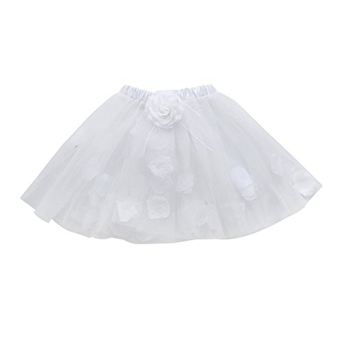 - SANGQU Little Girls Kids Layered Floral Tutu Ballet Skirts Fancy Party Skirt White
