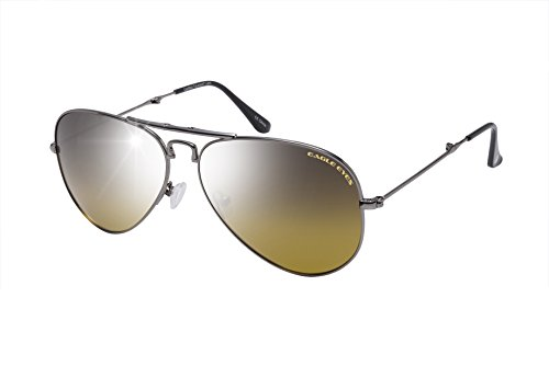 Eagle Eyes Foldable Aviator Sunglasses - Flash Mirror Polarized Sunglasses in Gunmetal, 57mm