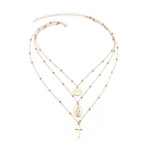 Loweryeah Gold Necklace Decorated Madonna Crucifix (Gold)
