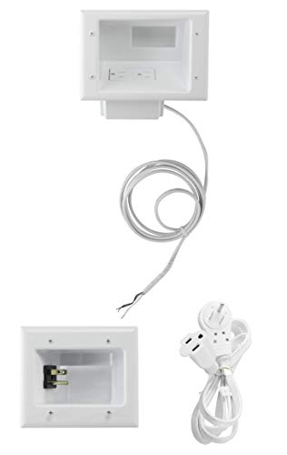 Wiring Electrical Outlets - Datacomm Electronics 50-6623-WH-KIT Flat Panel TV Cable Organizer Kit with Power Solution