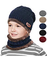 0c3fa0b4 Kids Winter Snow Knitted Beanie Hat Circle Scarf Set Slouchy Warm ...