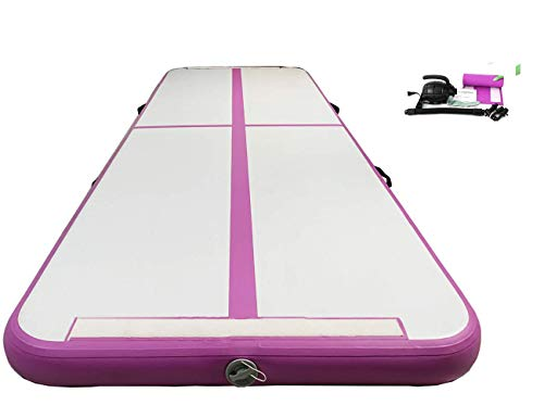 PreGymnastic 10 ft Airtrack Tumbling Mat, Inflatable Gymnastics Mat with Electric Air Pump for Home Use/Training/Cheerleading/Beach/Park and Water
